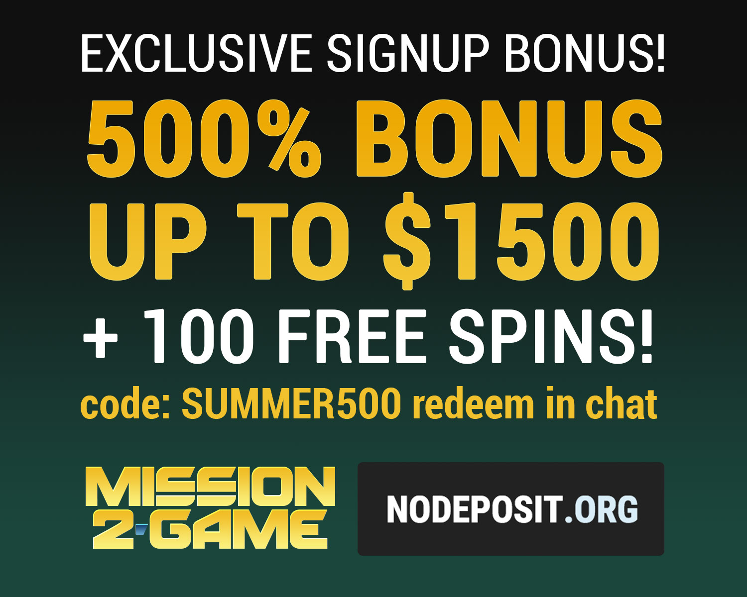 Exclusive no deposit bonus by Mission2Game